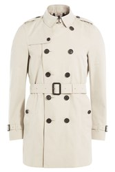 Burberry London Cotton Mid Length Trench Coat Beige