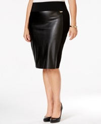 Calvin Klein Plus Size Faux Leather Front Pencil Skirt