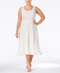 Soprano Plus Size Pleated Midi Dress Cream
