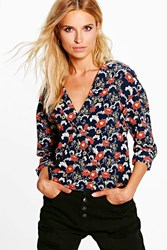 Boohoo Wrap Over Oriental Floral Print Blouse Navy