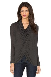 Blue Life Fit Cowl Neck Top Charcoal