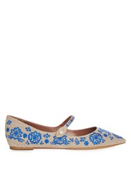 Tabitha Simmons Hermione Point Toe Embroidered Flats Blue Multi