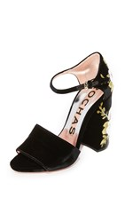 Rochas Embroidered Heels Black