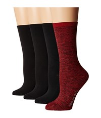 Hue Body Socks 4 Pack Deep Red Pack Women's Crew Cut Socks Shoes Multi