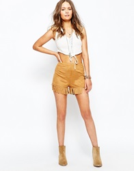 New Look Suedette Fringed Short Tan