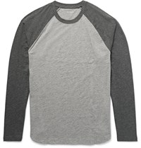 Club Monaco Two Tone Slub Cotton Jersey T Shirt Gray