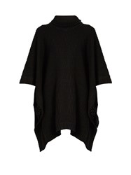 Pepper And Mayne Cashmere Knit Basketweave Poncho Black