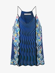 Mary Katrantzou Sleeveless Rainbow Cloud Wave Print Top Blue Multi Coloured Black Denim