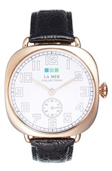 La Mer Cushion Case Leather Strap Watch 51Mm Black Rose Gold