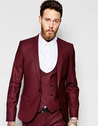 Noose And Monkey Suit Jacket With Stretch And Shawl Lapel In Skinny Fit Red