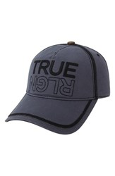 Men's True Religion Brand Jeans Overlock Stitch Ball Cap Grey Iron