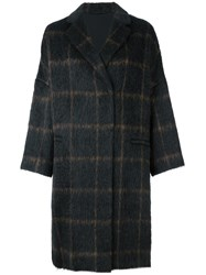 Brunello Cucinelli Checked Mid Length Coat Brown