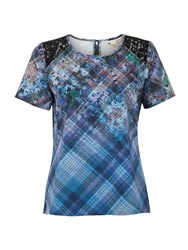Yumi The 90S Check Floral Top Blue