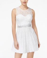 B Darlin Juniors' Jeweled Lace Fit And Flare Dress White