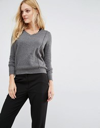 Y.A.S Zelena Cutwork Jumper With V Neck Grey