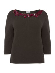 Persona Knitted Embellished Front Jumper Khaki