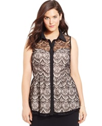 City Chic Plus Size Lace Overlay Sweetheart Blouse