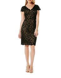 Laundry By Shelli Segal Short Sleeved Lace Dress Black