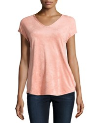 Max Studio Short Sleeve Perforated V Neck Tee Pink Mist