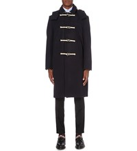 Thom Browne Flannel Wool Duffle Coat Navy