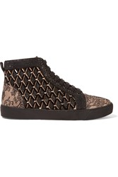 Rene Caovilla Embellished Leather And Mesh High Top Sneakers Black