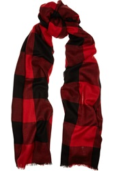 Sandro Alesta Plaid Silk And Wool Blend Scarf Red