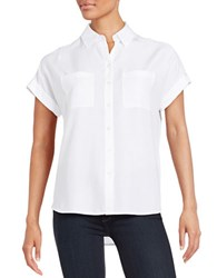Lord And Taylor Two Pocket Button Down Blouse White
