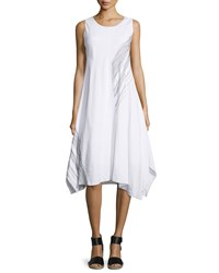 Neiman Marcus Topstitched Sleeveless Handkerchief Hem Dress Bleach White