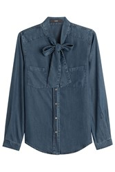 Steffen Schraut Denim Blouse With Bow Blue