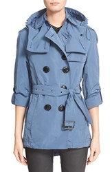 Burberry Women's Brit 'Knightsdale' Belted Drop Tail Hooded Trench Coat Pale Lupin Blue