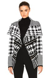 Barbara Bui Zip Cardigan In Black White Checkered And Plaid Black White Checkered And Plaid