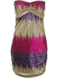 Versace Vintage Strapless Sequined Mini Dress Pink And Purple