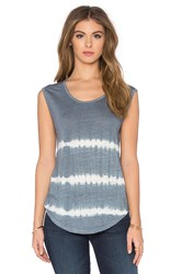 Velvet By Graham And Spencer Alena Tie Dye Stripe Linen Jersey Sleeveless Top Blue