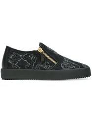 Giuseppe Zanotti Design Mickey Mouse Slip On Sneakers Black