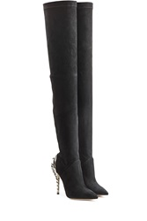 Paul Andrew Suede Over The Knee Boots With Chrysler Heel Black