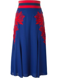 Marc Jacobs Floral Embroidered Skirt Blue