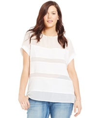 City Chic Plus Size Short Sleeve Illusion Stripe Top