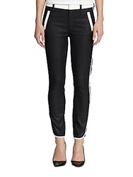 7 For All Mankind Sportif Cropped Two Tone Skinny Pants Black White