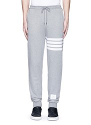 Thom Browne Stripe Print Cotton Sweatpants Grey