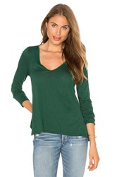 Velvet By Graham And Spencer Sookie Long Sleeve V Neck Top Green