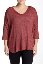 Bobeau Hi Lo V Neck Metallic Threaded Sweater Plus Size Red