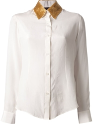 Jo No Fui Contrast Collar Shirt White