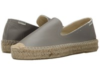 Soludos Platform Smoking Slipper Leather Dolphin Gray Women's Slippers Taupe