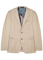 Oscar Jacobson Fox Ii Stone Stretch Cotton Blazer Beige