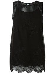 Twin Set Floral Embroidery Tank Black