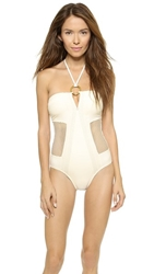 Red Carter Spacenet One Piece Swimsuit White
