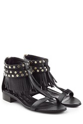 Burberry Shoes And Accessories Abercorn Leather Sandals With Fringe Black