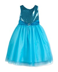 Susanne Lively Sleeveless Sequin And Tulle Party Dress Aqua Blue