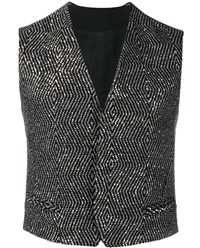 Haider Ackermann Sequin Embellished Wool Blend Waistcoat Black Silver