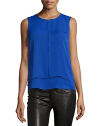 Laundry By Shelli Segal Double Layer Front Slit Tank Jubilee Blue